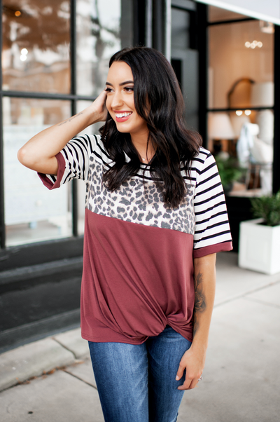 Spotted In Stripes Twist Top (Red Brown) FINAL SALE