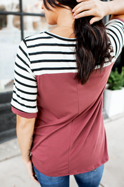 Spotted In Stripes Twist Top (Red Brown)