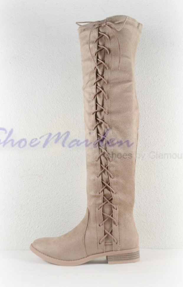 Brody OTK Lace Up Boots (Taupe)