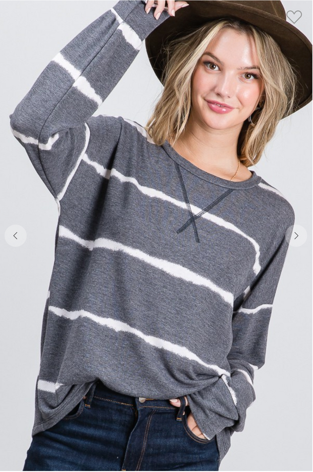 Blurred Lines Dolman Top (Charcoal)