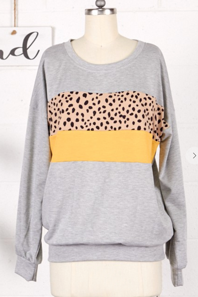Sassy and Spotty Block Top (Grey/Mustard)