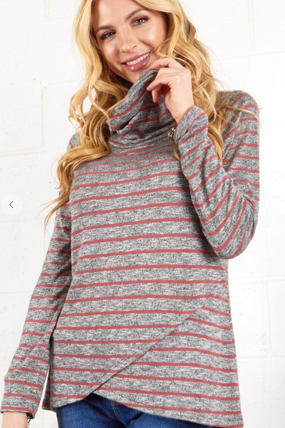 The Scotty Striped Pullover (Mauve/Grey)