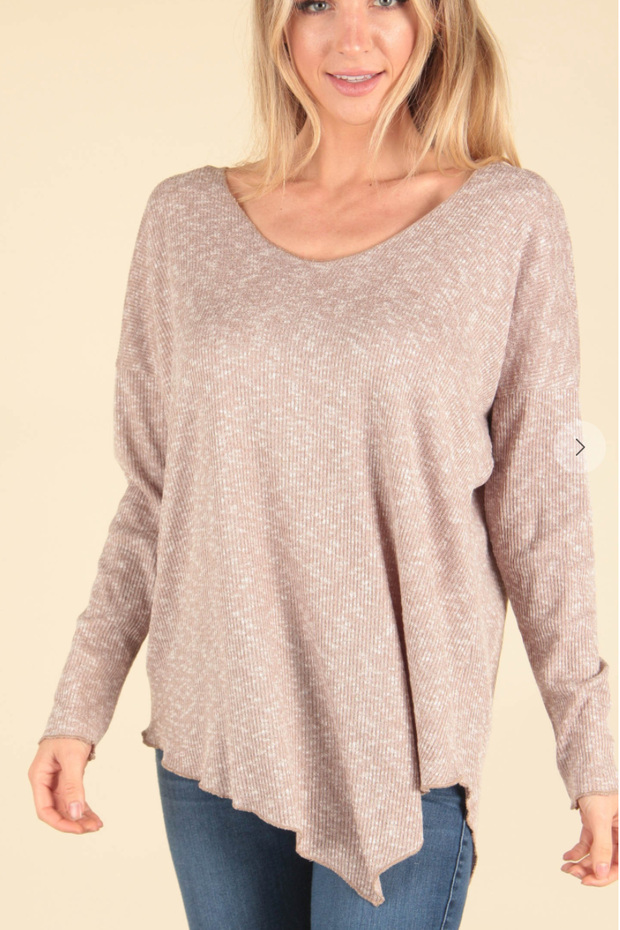 Take A Breath Heathered Top (Taupe)