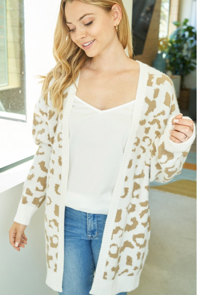Roarin' For More Leopard Cardigan (Taupe/Ivory)