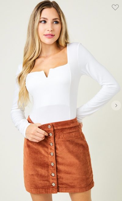 Bend And Snap Corduroy Skirt (Rust)