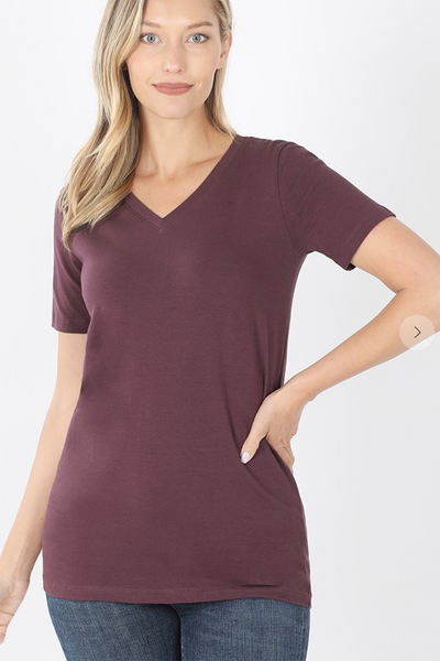 Cotton V-Neck Tee (Eggplant) DOORBUSTER