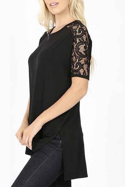Lace Shoulder Tunic (Black) DOORBUSTER
