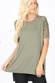 Lace Shoulder Tunic (Light Olive) DOORBUSTER