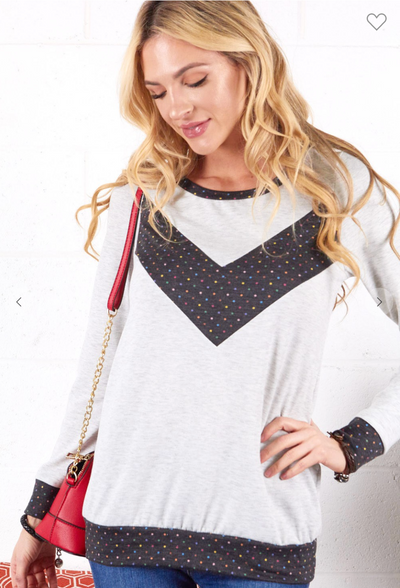 Sprinkled Chevron Top (Grey)FINAL SALE