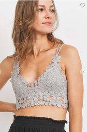 Flirty Floral Bralette (Light Grey)