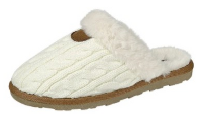 Cable Knit Slippers (Ivory)