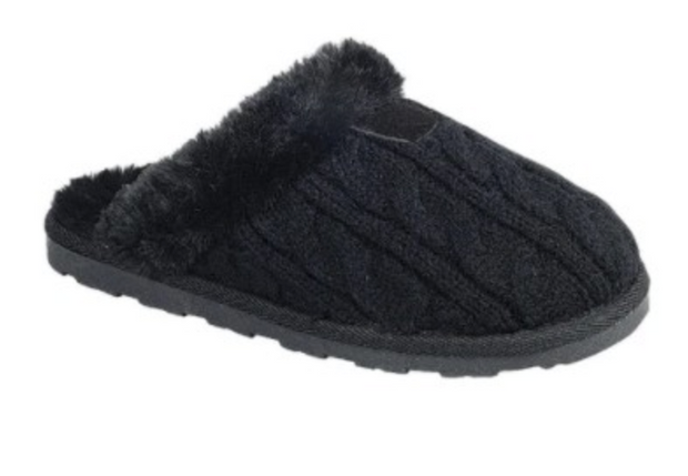 Cable Knit Slippers (Black)