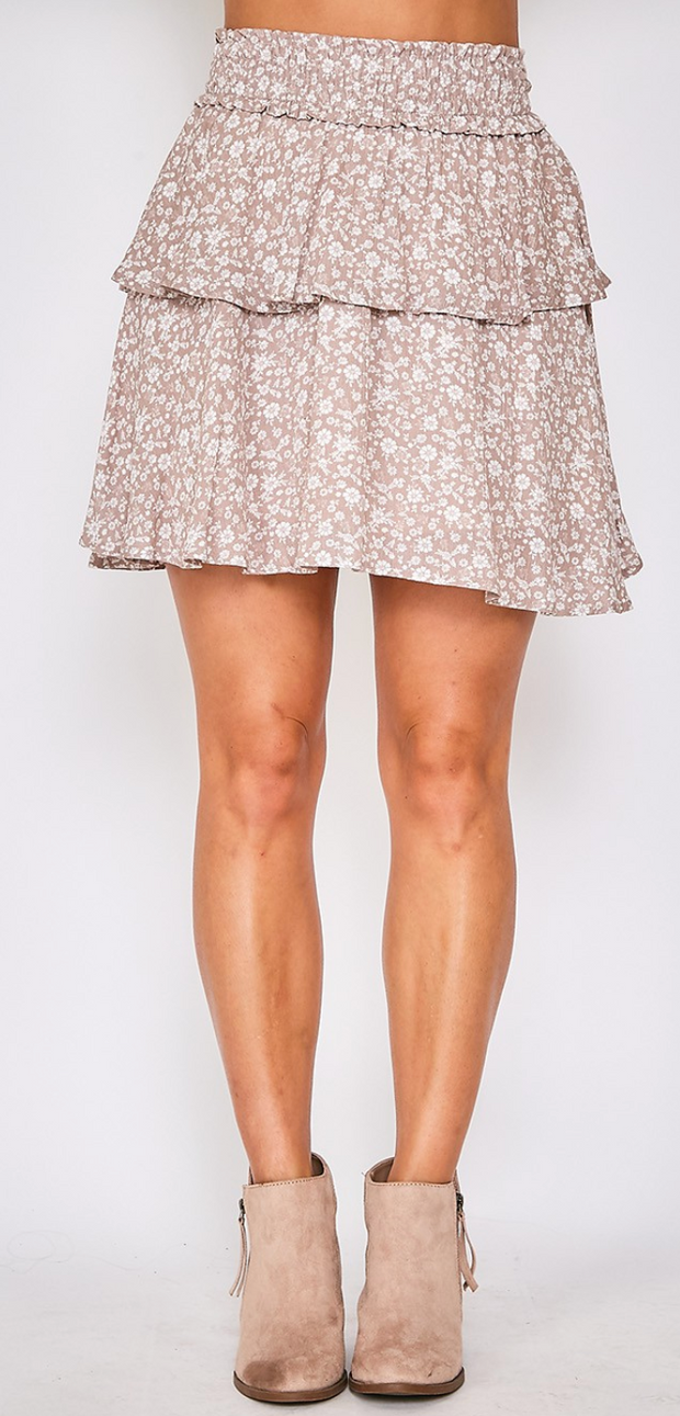 Dainty Floral Ruffle Skirt (Taupe/Ivory)