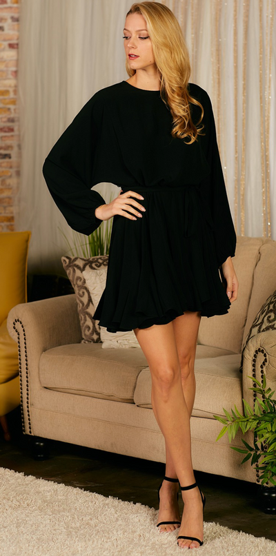 Ruffle My Way Dress (Black)