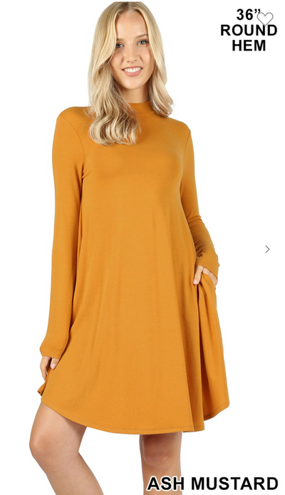 Turtleneck Midi Dress (Ash Mustard)