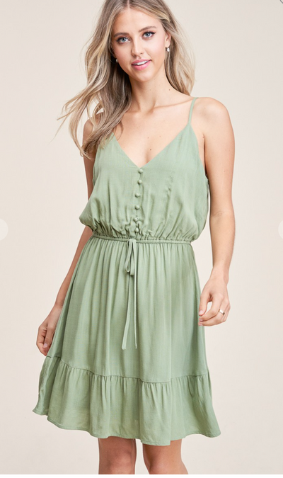 Cherish the Moment Tiered Dress (Lt. Olive)