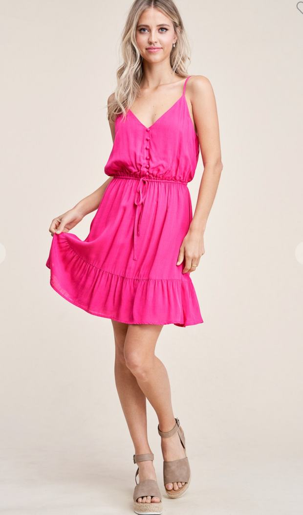 Cherish the Moment Tiered Dress (Fuchsia)