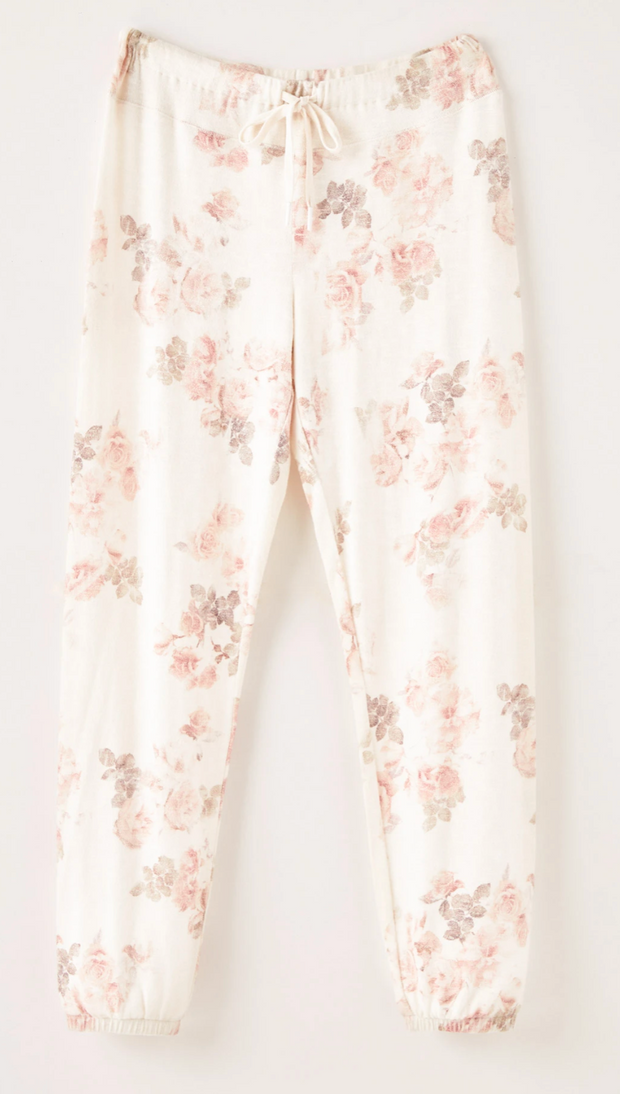 Z Supply Ava Floral Joggers (Bone)