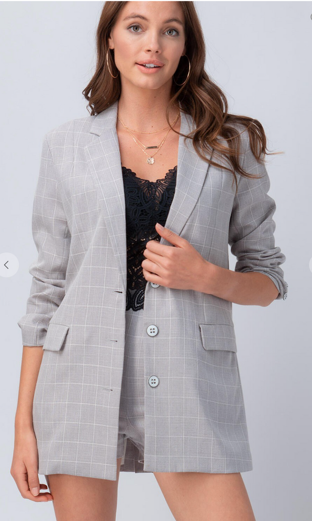 Chic Chick Blazer Set (Light Grey)