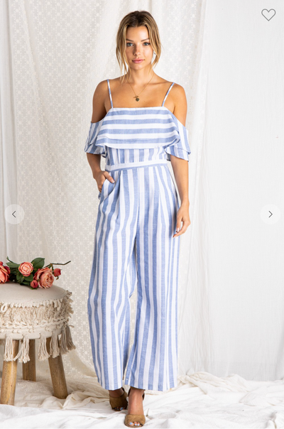 Beach Please Striped Jumpsuit (Ivory/Blue)