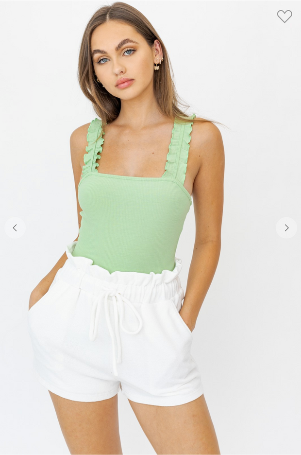The Rosy Ruffle Bodysuit (Pale Green)