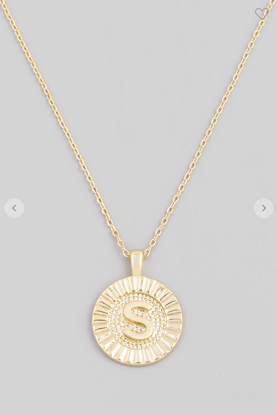 Coin Pendant Initial Necklace