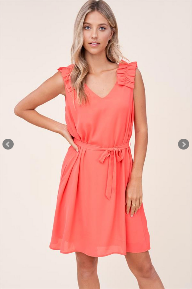 The Lauren Ruffle Dress (Hot Coral)