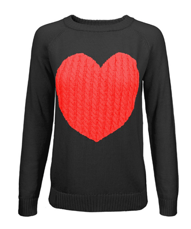 Embrace My Heart Sweater (Black/Red) FINAL SALE