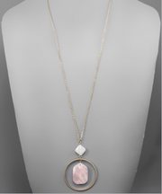 Stone & Circle Necklace (3 Colors)