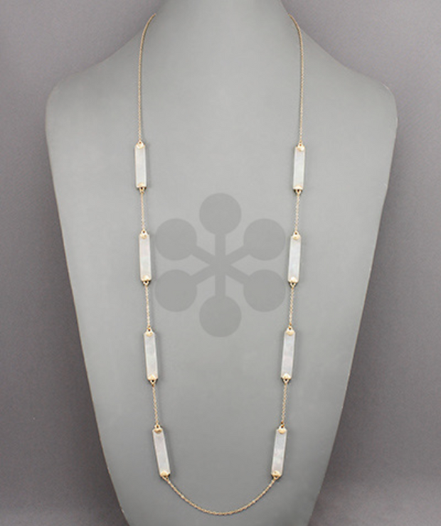 Acrylic Bar & Chain Link Necklace