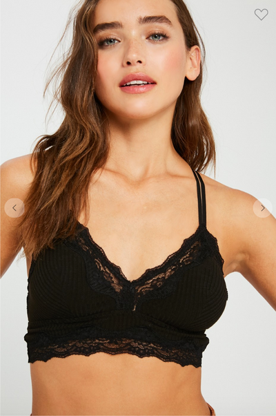 Ribbed Lace Bralette (Black)