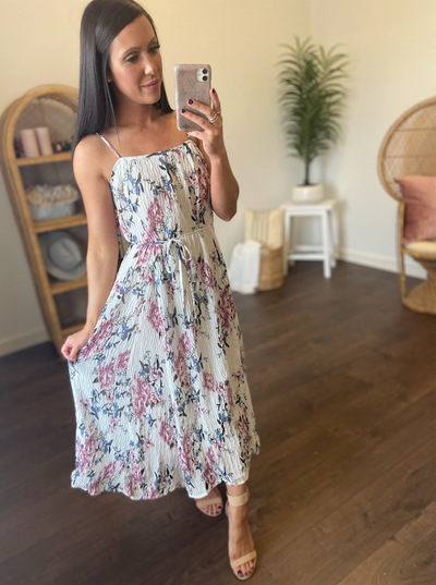 Sunday Brunch Floral Dress (Ivory/Orchid)