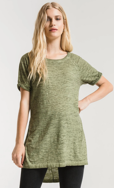 Z Supply Airy Slub Slit Tunic (Oil Green) FINAL SALE