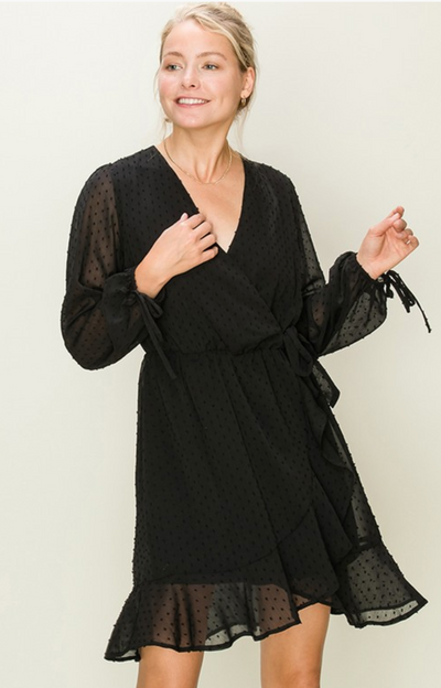 Dotted Swiss Surplice Dress (Black)