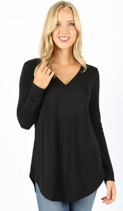 Delaney V-Neck Tunic (Black) DOORBUSTER(FINAL SALE)