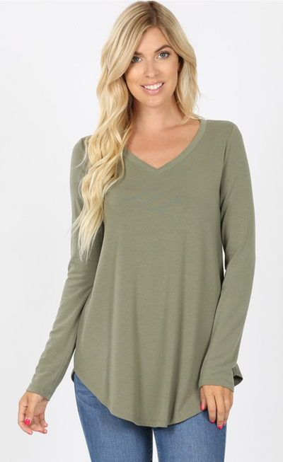 Delaney V-Neck Tunic (Light Olive) DOORBUSTER(FINAL SALE)