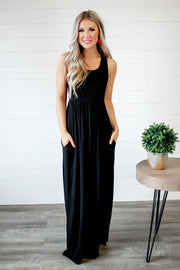 Modestly Posed Racerback Maxi (Black)
