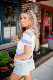 Cool Toned Striped V-Neck