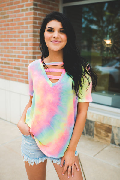 The Lola Strappy V-Neck (Pastel Tie Dye) FINAL SALE