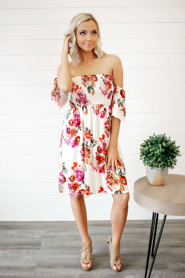 Getaway Ready Floral Dress (Cream)