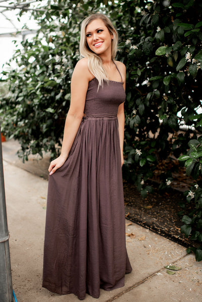 Halter Cross Strap Back Maxi Dress FINAL SALE