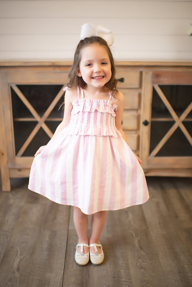Buddy Love KIDS Vivienne Dress (Pink Stripe) FINAL SALE