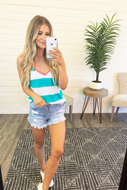 Kolly Striped Tank Top (Jade/Ivory) FINAL SALE