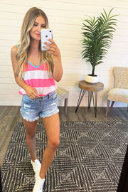 Kolly Striped Tank Top (Pink/Ivory) FINAL SALE