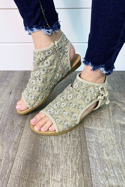 Gypsy Jazz Loopy Sandals (Taupe Floral)(FINAL SALE)