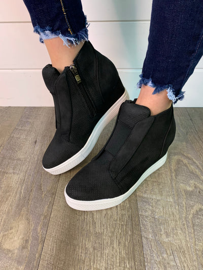 Salem Wedged Sneaker (Black) FINAL SALE