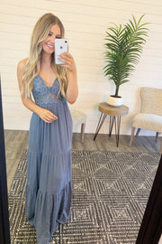 Full Of Sass Crochet Maxi (Misty Blue)
