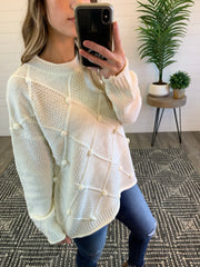 Quilted Pom Pom Sweater (Ivory) (FINAL SALE)