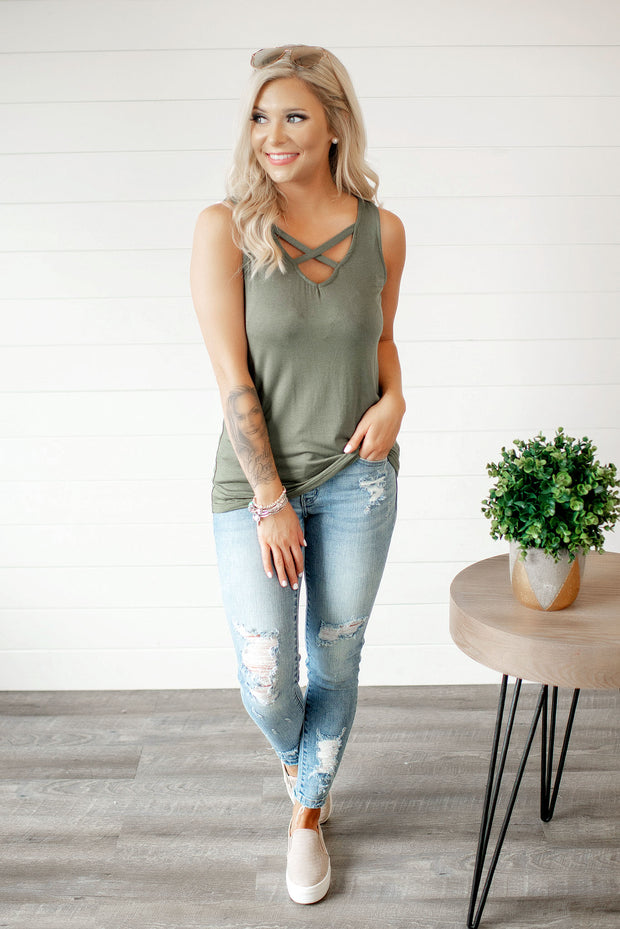 It's Time Criss Cross Tank (Olive)