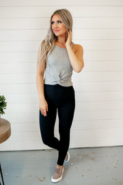 "5"" Waist Lazy Days Leggings (Black)"